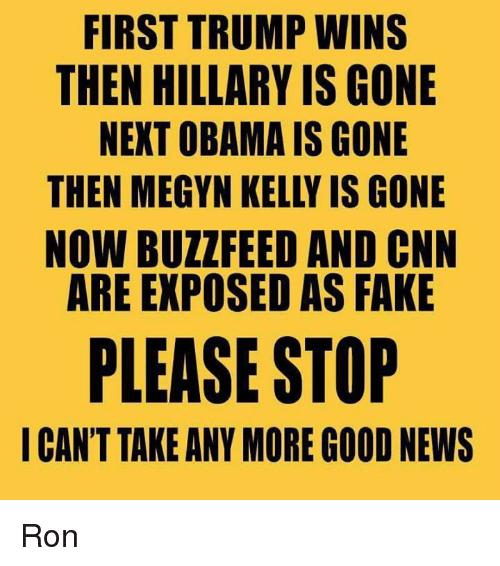 Trump Winning: FIRST TRUMP WINS  THEN HILLARY IS GONE  NEXT OBAMA IS GONE  THEN MEGYN KELLY IS GONE  NOW BUZZ FEED AND CNN  ARE EXPOSED AS FAKE  PLEASE STOP  I CAN'T TAKE ANY MORE GOOD NEWS Ron
