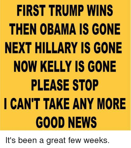 Trump Winning: FIRST TRUMP WINS  THEN OBAMA IS GONE  NEXT HILLARY IS GONE  NOW KELLY IS GONE  PLEASE STOP  I CAN'T TAKE ANY MORE  GOOD NEWS It's been a great few weeks.