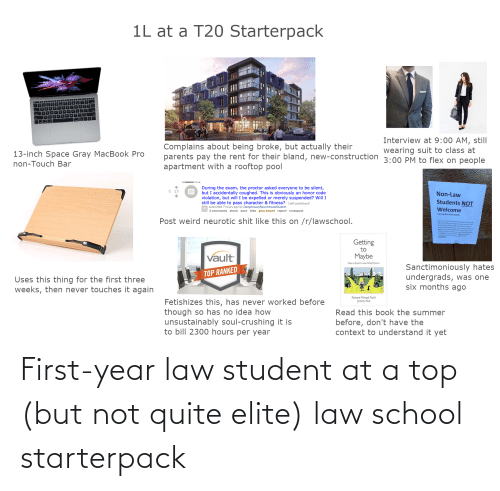 Law School: First-year law student at a top (but not quite elite) law school starterpack