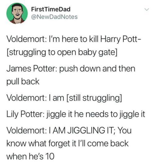 voldemort: FirstTimeDad  ONewDadNotes  Voldemort: I'm here to kill Harry Pott-  [struggling to open baby gate]  James Potter: push down and then  pull back  Voldemort: I am [still strugglingl  Lily Potter: jiggle it he needs to jiggle it  Voldemort: I AM JIGGLING IT; You  know what forget it l'll come back  when he's 10