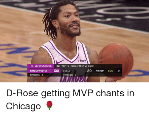 timberwolves: fitbit  25 DERRICK ROSE 23 POINTS (Career High vs Bulls)  TIMBERWOLVES 100 BULLS  Timeouts: 3  80 4th Qtr  5-26  24  Timeouts: 2 D-Rose getting MVP chants in Chicago 🌹