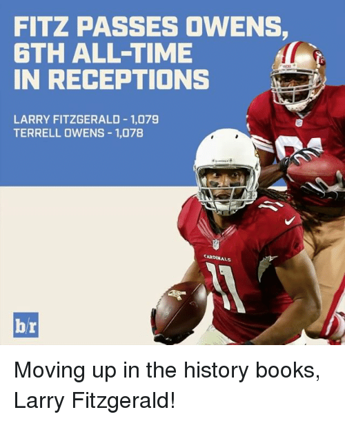 terrell owens: FITZ PASSES OWENS,  6TH ALL TIME  IN RECEPTIONS  LARRY FITZGERALD 1,079  TERRELL OWENS 1,078  CARDINALS  br Moving up in the history books, Larry Fitzgerald!