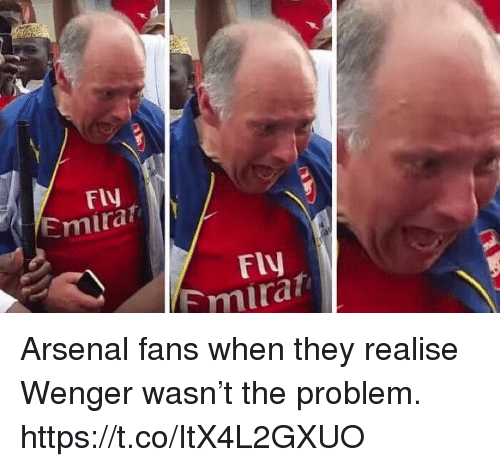wenger: FIV  Emirat  FlV  mirat Arsenal fans when they realise Wenger wasn't the problem. https://t.co/ItX4L2GXUO