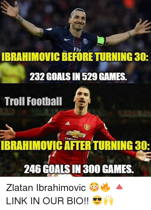 Football, Goals, and Memes: FIv  IBRAHIMOVICBEFORETURNING30:  232 GOALS IN 529 GAMES.  Troll Football  IBRAHIMOVIC AFTER TURNING 30-  246 GOALS IN 300 GAMES. Zlatan Ibrahimovic 😳🔥 🔺LINK IN OUR BIO!! 😎🙌
