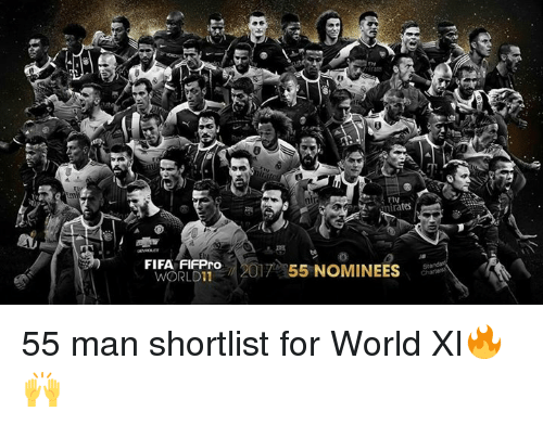 Fifa, Memes, and World: FIV  irates  0  FIFA FLERTO2017 55 NOMINEES  ORLD11 55 man shortlist for World XI🔥🙌