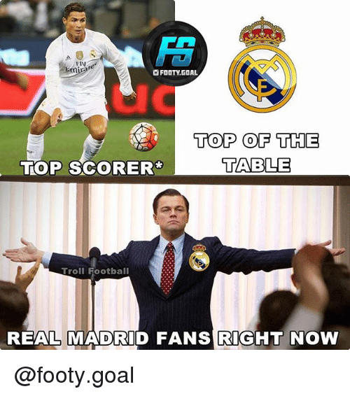 table top: FIV  mira  re  OFOOTY.GOAL  uc  TOP OF THE  TABLE  TOP SCORER  Troll Football  REALMADRID FANS RIGHT NOW @footy.goal