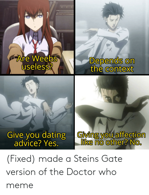 Doctor Who Meme: (Fixed) made a Steins Gate version of the Doctor who meme