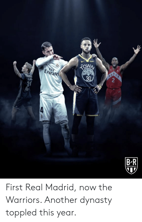 Real Madrid: FIY  Enirates  R  2  30  BR  FOOTBALL First Real Madrid, now the Warriors.   Another dynasty toppled this year.