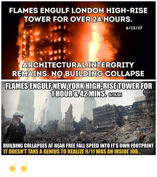 building collapse: FLAMES ENGULF LONDON HIGH-RISE  TOWER FOR OVER 24 HOURS.  ARCHITECTURAL INTERGRITY  REMAINS. NO BUILDING COLLAPSE  FLAMESSENGULFNEWYORKHIGH-RISE TOWER FOR  1 HOURR 42 MINS, 9/11/01  BUILDING COLLAPSES AT NEAR FREE FALL SPEED INTOITS OWN FOOTPRINT  ITDOESNT TAKE A GENIUS TO REALIZE 9/11WAS AN INSIDE JOB... ☝️☝️