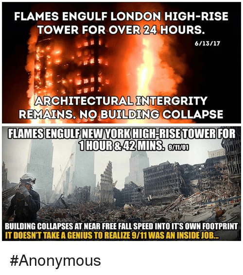 building collapse: FLAMES ENGULF LONDON HIGH-RISE  TOWER FOR OVER 24 HOURS.  ARCHITECTURAL INTERGRITY  REMAINS, NO BUILDING COLLAPSE  FLAMES ENGULF NEW YORK HIGH RISE TOWER  FOR  9/11/01  BUILDING COLLAPSES AT NEAR FREE FALL SPEED INTO IT'S OWN FOOTPRINT  IT DOESNT TAKE A GENIUS TO REALIZE 9/11 WAS AN INSIDEJOB #Anonymous