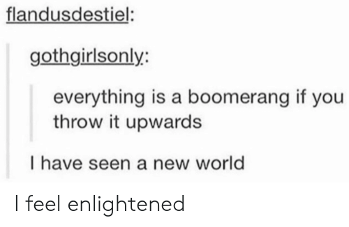 enlightened: flandusdestiel  gothgirlsonly:  everything is a boomerang if you  throw it upwards  I have seen a new world I feel enlightened