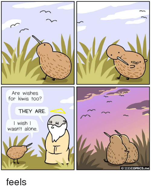 flap: *flap*  Are wishes  for kiwis too?  THEY ARE.  I wish I  wasn't alone.  © 1111COMICS.me feels