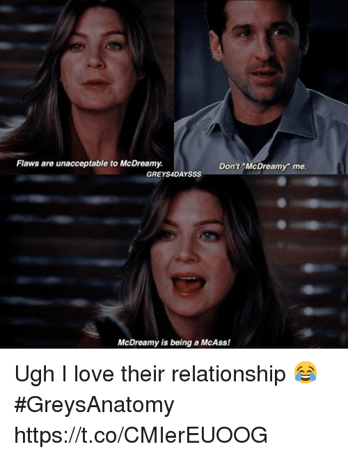 """Love, Memes, and 🤖: Flaws are unacceptable to McDreamy.  Don't """"McDreamy"""" me  GREYS4DAYSSS  McDreamy is being a McAss! Ugh I love their relationship 😂 #GreysAnatomy https://t.co/CMIerEUOOG"""