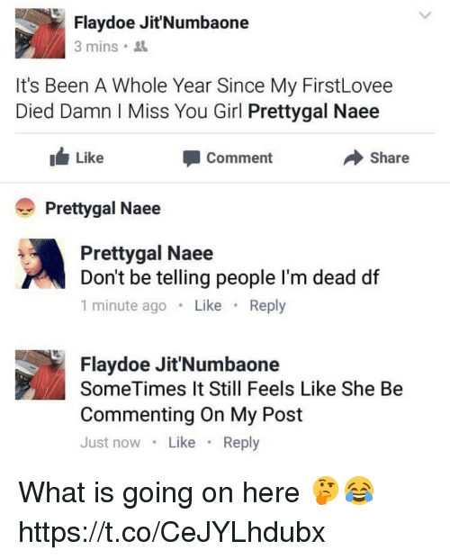 Doe, Memes, and Girl: Flay doe Jit'Numbaone  3 mins.  It's Been A Whole Year Since My FirstLovee  Died Damn l ISS  You Girl Prettygal Naee  I Like  Comment  Share  Pretty gal Naee  Pretty gal Naee  Don't be telling people l'm dead df  1 minute ago  Like  Reply  Flay doe Jit'Numbaone  SomeTimes It Still Feels Like She Be  Commenting on My Post  Just now  Like  Reply What is going on here 🤔😂 https://t.co/CeJYLhdubx