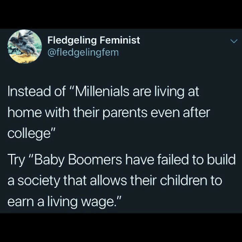 """feminist: Fledgeling Feminist  @fledgelingfem  Instead of """"Millenials are living at  home with their parents even after  college""""  Try """"Baby Boomers have failed to build  a society that allows their children to  earn a living wage."""""""