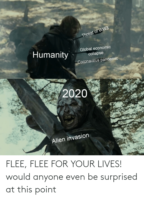flee: FLEE, FLEE FOR YOUR LIVES! would anyone even be surprised at this point