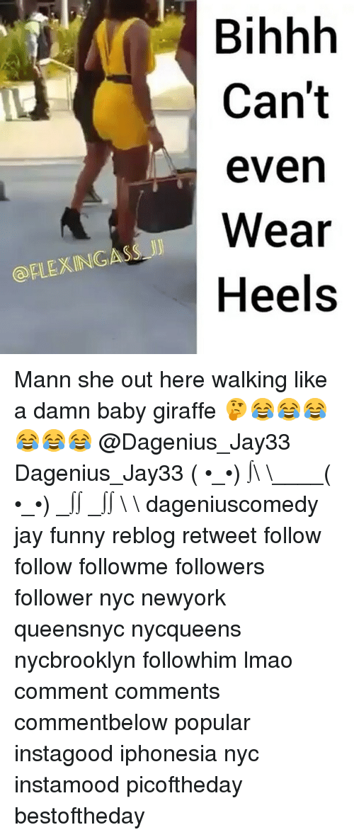 baby giraffe: FLEXINGASS JJ  Bihhh  Can't  even  Wear  Heels Mann she out here walking like a damn baby giraffe 🤔😂😂😂😂😂😂 @Dagenius_Jay33 Dagenius_Jay33 ( •_•) ∫\ \____( •_•) _∫∫ _∫∫ɯ \ \ dageniuscomedy jay funny reblog retweet follow follow followme followers follower nyc newyork queensnyc nycqueens nycbrooklyn followhim lmao comment comments commentbelow popular instagood iphonesia nyc instamood picoftheday bestoftheday