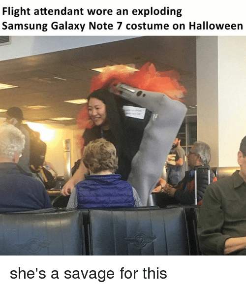 Galaxy Note: Flight attendant wore an exploding  Samsung Galaxy Note 7 costume on Halloween she's a savage for this