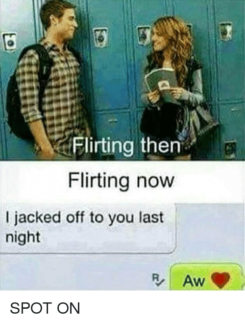 Jacking Off, Memes, and 🤖: Flirting then  Flirting now  l jacked off to you last  night SPOT ON