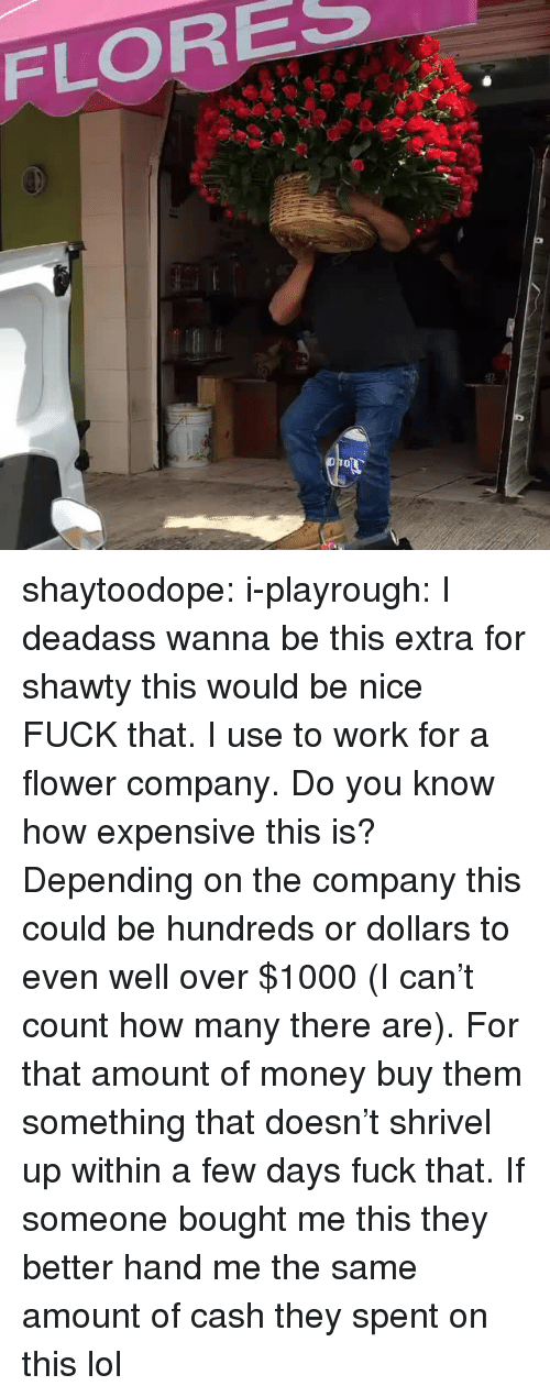 flores: FLORES shaytoodope:  i-playrough:  I deadass wanna be this extra for shawty   this would be nice   FUCK that. I use to work for a flower company. Do you know how expensive this is? Depending on the company this could be hundreds or dollars to even well over $1000 (I can't count how many there are). For that amount of money buy them something that doesn't shrivel up within a few days fuck that. If someone bought me this they better hand me the same amount of cash they spent on this lol