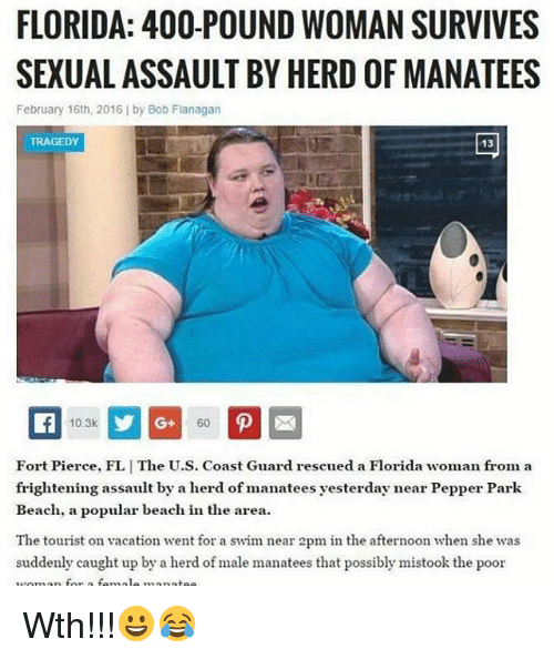Memes, Beach, and Florida: FLORIDA: 400-POUND WOMAN SURVIVES  SEXUALASSAULT BY HERD OFMANATEES  February 16th, 2016 by Bob Flanagan  10.3k  Fort Pierce, FLIThe U.S. Coast Guard rescued a Florida woman from a  frightening assault by a herd of manatees yesterday near Pepper Park  Beach, a popular beach in the area.  The tourist on vacation went for a swim near 2pm in the afternoon when she was  suddenly caught up by a herd of male manatees that possibly mistook the poor Wth!!!😀😂