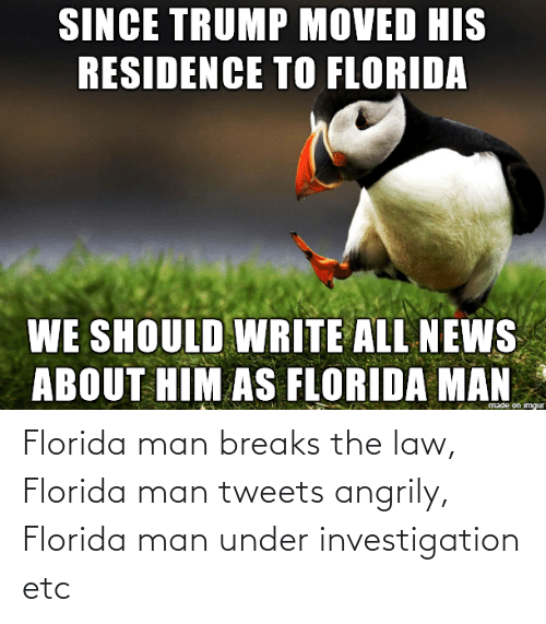 Florida Man: Florida man breaks the law, Florida man tweets angrily, Florida man under investigation etc