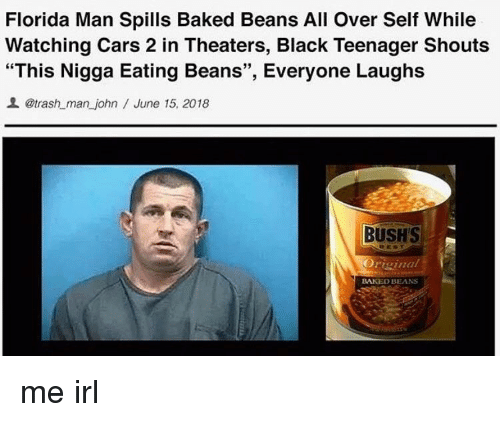 Florida Man Spills Baked Beans All Over Self While Watching Cars 2