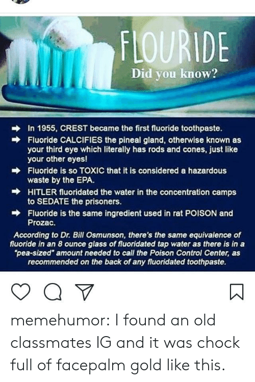 "poison control: FLOURIDE  Did you know?  In 1955, CREST became the first fluoride toothpaste.  Fluoride CALCIFIES the pineal gland, otherwise known as  your third eye which literally has rods and cones, just like  your other eyes!  Fluoride is so TOXIC that it is considered a hazardous  waste by the EPA.  HITLER fluoridated the water in the concentration camps  to SEDATE the prisoners.  Fluoride is the same ingredient used in rat POISON and  Prozac.  →  According to Dr. Bill Osmunson, there's the same equivalence of  fluoride in an 8 ounce glass of fluoridated tap water as there is in a  pea-sized"" amount needed to call the Poison Control Center, as  recommended on the back of any fluoridated toothpaste. memehumor:  I found an old classmates IG and it was chock full of facepalm gold like this."