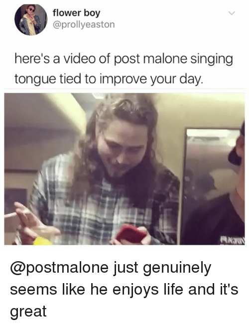 Life, Memes, and Post Malone: flower boy  @prollyeaston  here's a video of post malone singing  tongue tied to improve your day @postmalone just genuinely seems like he enjoys life and it's great