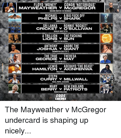 "Boxing, England, and Fucking: FLOYD ""MONEY""  CONOR NOTORIOUS  MAYWEATHER MCGREGOR  BOXING MATCH (12 ROUNDS)  MICHAEL  A BIG FUCK OFF  PHELPS SHARK  100M SPRINT  SRILANKA  RONNIE ROCKET'  CRICKET v O SULLIVAN  BOULES (BEST OF 5)  A TRILLION  THE FUCKING  LIONS V SUN  FIGHT TO THE DEATH  ANTHONY  ANDRE THE  JOSHUA GIANT  BADMINTON (BEST OF)  THE TRUE  THERESA  GEORDIE V MAY  HELLIN THE CELL  LEWIS  ADEBAYO THE BEAST'  HAMILTON VAKINFENWA  VOLLEYBALL  STEPH  CU  ROCK, PAPER, SCISSORS  MARY NEW ENGLAND  BERRY V PATRIOTS  RODEO CHALLENGE  ODDS  ENO  87  GREGOR The Mayweather v McGregor undercard is shaping up nicely..."
