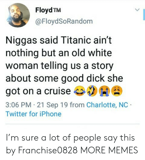 Floyd: Floyd TM  @FloydSoRandom  Niggas said Titanic ain't  nothing but an old white  woman telling us a story  about some good dick she  got on a cruise  3:06 PM 21 Sep 19 from Charlotte, NC  Twitter for iPhone I'm sure a lot of people say this by Franchise0828 MORE MEMES