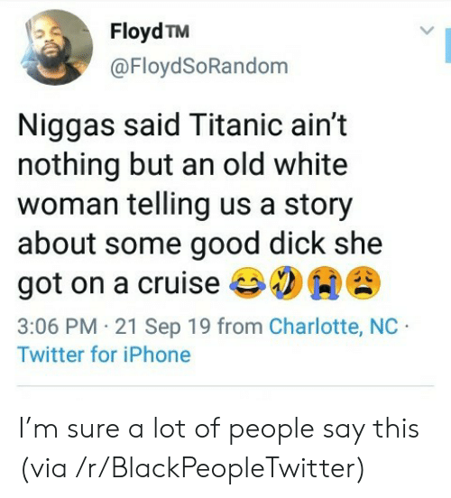 Titanic: Floyd TM  @FloydSoRandom  Niggas said Titanic ain't  nothing but an old white  woman telling us a story  about some good dick she  got on a cruise  3:06 PM 21 Sep 19 from Charlotte, NC  Twitter for iPhone I'm sure a lot of people say this (via /r/BlackPeopleTwitter)