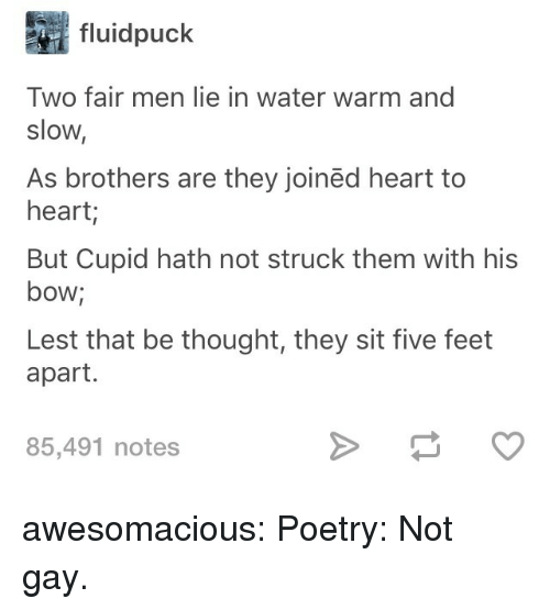 Cupid: fluidpuck  Two fair men lie in water warm and  slow,  As brothers are they joinëd heart to  heart;  But Cupid hath not struck them with his  bow;  Lest that be thought, they sit five feet  apart.  85,491 notes awesomacious:  Poetry: Not gay.
