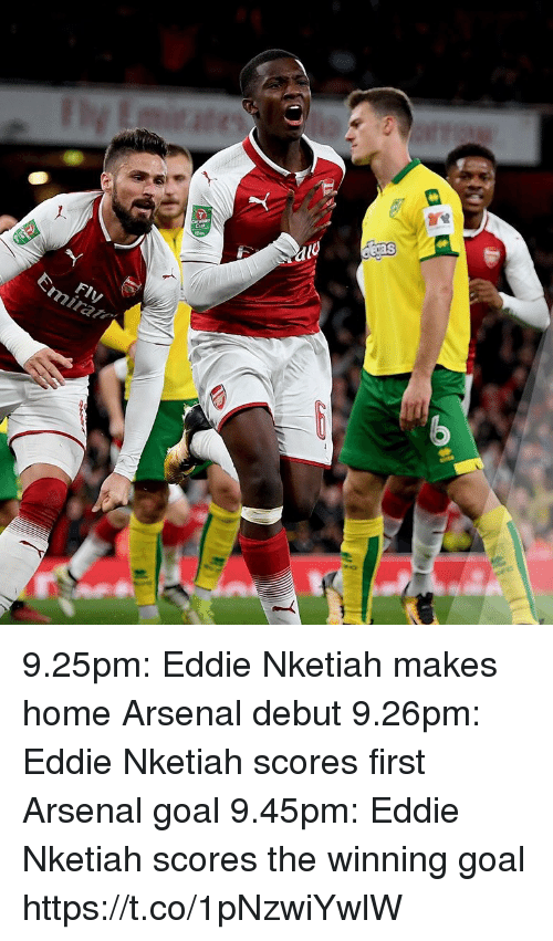 Arsenal, Soccer, and Goal: Fly 9.25pm: Eddie Nketiah makes home Arsenal debut 9.26pm: Eddie Nketiah scores first Arsenal goal 9.45pm: Eddie Nketiah scores the winning goal https://t.co/1pNzwiYwlW