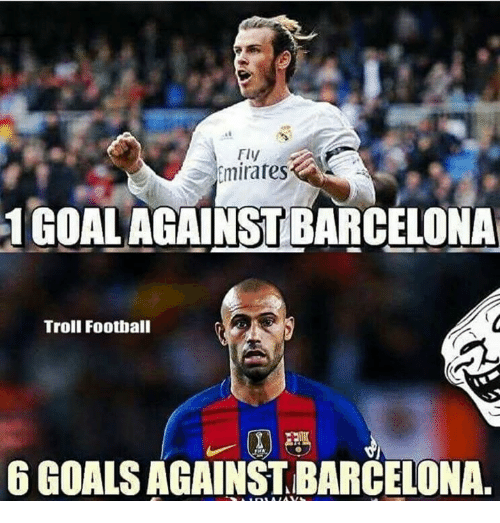 Barcelona, Memes, and Troll: Fly  Emirates  1GoAL AGAINST BARCELONA  Troll Football  6 GOALS AGAINSTBARCELONA.