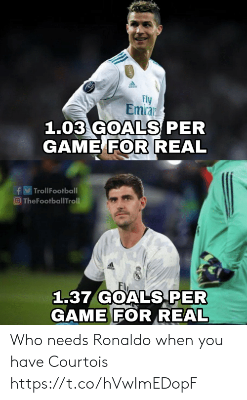 Ronaldo: Fly  Emraz  1.03 GOALS PER  GAME FOR REAL  TrollFootball  f  O TheFootballTroll  1.37 GOALS PER  GAME FOR REAL Who needs Ronaldo when you have Courtois https://t.co/hVwImEDopF