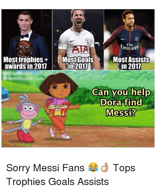 Goals, Memes, and Sorry: Fly  FIV  AIA  awards in 2017in 2017  hirate  Most Assists  in 2017  Can you help  Dora find  Messi? Sorry Messi Fans 😂👌🏽 Tops Trophies Goals Assists
