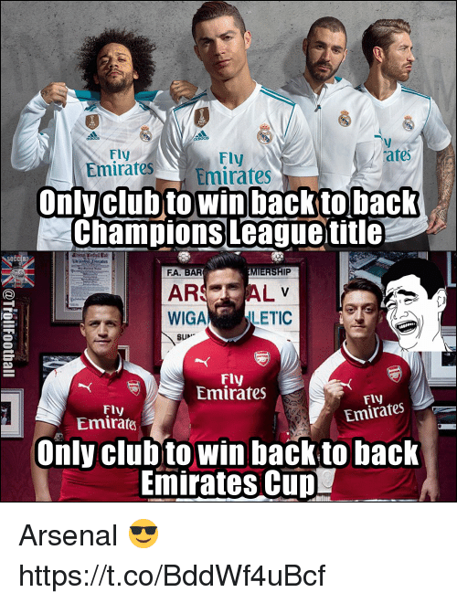 cud: Fly  mirates Emirates  Fly  tes  EesEmirates  Onlyclubto win backto back  champions League title  očc  FA. BAR  MIERSHIP  ARSAL  WIGA LETIC  SUN  Fly  Emirates  Fly  Emirafes  Fly  Emirates  Only clubto win back tobaclk  Emirates CuD Arsenal 😎 https://t.co/BddWf4uBcf
