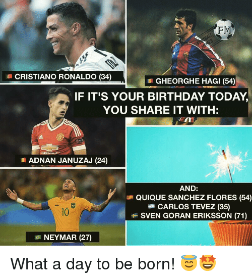 flores: FM  CRISTIANO RONALDO (34)  GHEORGHE HAGI (54)  IF IT'S YOUR BIRTHDAY TODAY,  YOU SHARE IT WITH:  EIN  ADNAN JANUZAJ (24)  AND:  QUIQUE SANCHEZ FLORES (54)  CARLOS TEVEZ (35)  SVEN GORAN ERIKSSON (71)  10  101 NEYMAR (27) What a day to be born! 😇🤩
