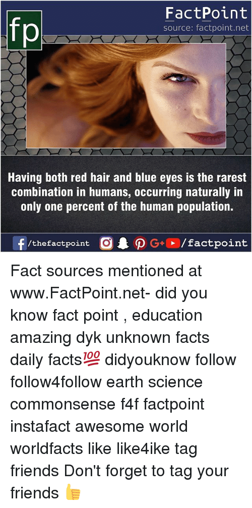 red hair: fo  FactPoint  source: factpoint.net  Having both red hair and blue eyes is the rarest  combination in humans, occurring naturally in  only one percent of the human population.  f/thefactpoint  G+/factpoint Fact sources mentioned at www.FactPoint.net- did you know fact point , education amazing dyk unknown facts daily facts💯 didyouknow follow follow4follow earth science commonsense f4f factpoint instafact awesome world worldfacts like like4ike tag friends Don't forget to tag your friends 👍