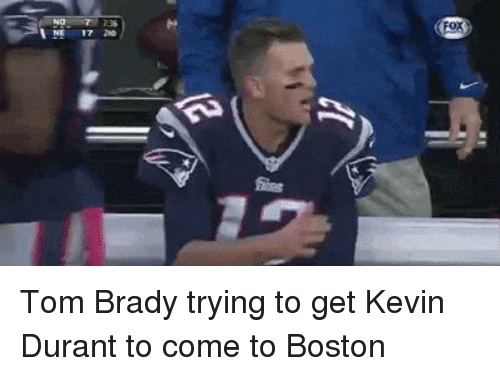 Kevin Durant, Nfl, and Tom Brady: FOK  %NE 1720  yo Tom Brady trying to get Kevin Durant to come to Boston