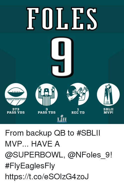 Memes, Superbowl, and 🤖: FOLES  373  PASS YDS  3  PASS TDS  1  REC TD  SBLII  MVP! From backup QB to #SBLII MVP...  HAVE A @SUPERBOWL, @NFoles_9! #FlyEaglesFly https://t.co/eSOlzG4zoJ