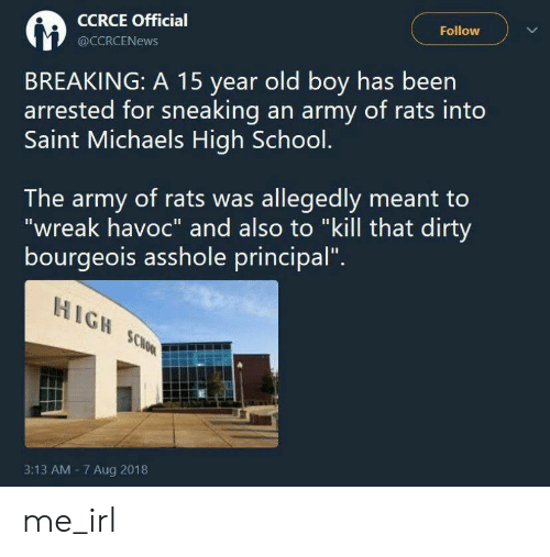 "Sneaking: Follow  CCRCE Official  @CCRCENEWS  BREAKING: A 15 year old boy has been  arrested for sneaking an army of rats into  Saint Michaels High School.  The army of rats was allegedly meant to  ""wreak havoc"" and also to ""kill that dirty  bourgeois asshole principal""  HIGH SCHOOL  3:13 AM 7 Aug 2018 me_irl"