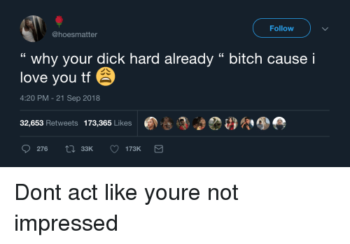 """not impressed: Follow  @hoesmatter  """" why your dick hard already """" bitch cause i  love you tf  4:20 PM-21 Sep 2018  32,653 Retweets 173,365 Likes  276  33K Dont act like youre not impressed"""