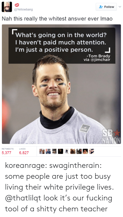 brady: Follow  @Yellowbang  Nah this really the whitest answer ever Imao  What's going on in the world?  T haven't paid much attention.  I'm just a positive person.  -Tom Brady  via @jimchair  TROPHY  SB  NATION  RETWEETS  LIKES  5,377  6,827 koreanrage: swagintherain: some people are just too busy living their white privilege lives.   @thatlilqt look it's our fucking tool of a shitty chem teacher