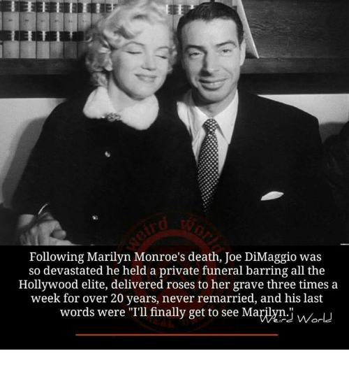 """Joe DiMaggio: Following Marilyn Monroe's death, Joe DiMaggio was  so devastated he held a private funeral barring all the  Hollywood elite, delivered roses to her grave three times a  week for over 20 years, never remarried, and his last  words were """"I'llfinally get to see Mayiym.i Or"""