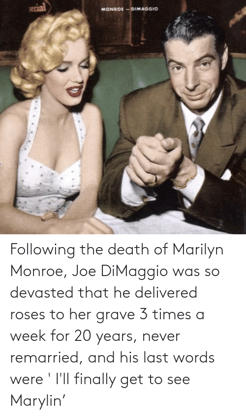 Marilyn Monroe: Following the death of Marilyn Monroe, Joe DiMaggio was so devasted that he delivered roses to her grave 3 times a week for 20 years, never remarried, and his last words were ' I'll finally get to see Marylin'