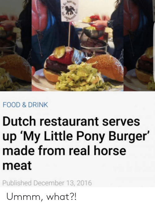 Little Pony: FOOD & DRINK  Dutch restaurant serves  up 'My Little Pony Burger'  made from real horse  meat  Published December 13, 2016 Ummm, what?!