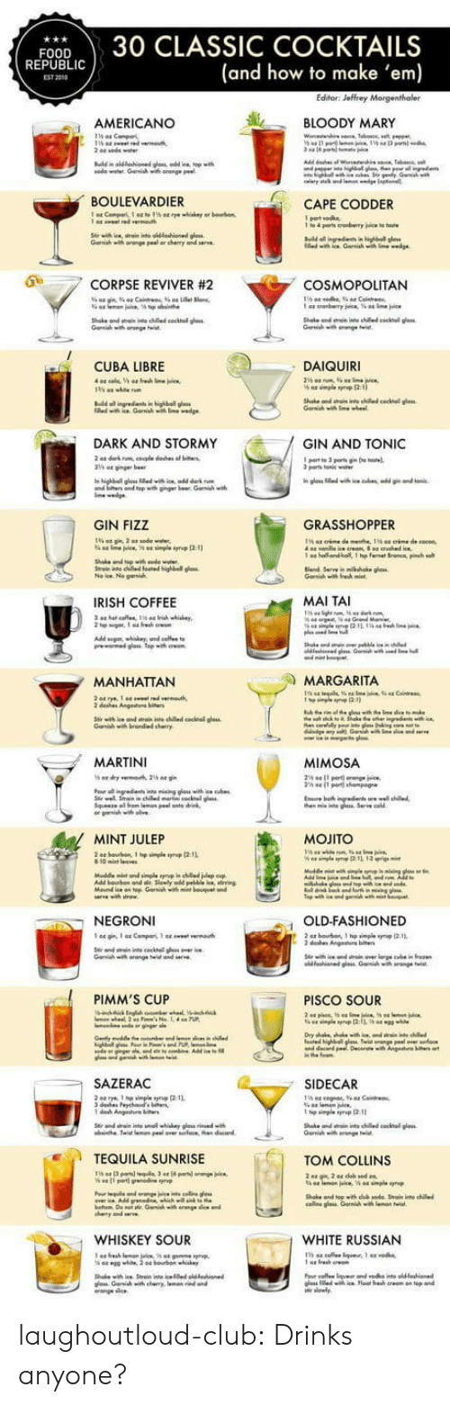 Bloody Mary: FOOD30 CLASSIC COCKTAILS  (and how to make 'em)  REPUBLI  EST 2010  AMERICANO  し 、 BLOODY MARY  ณ0de water. Garwish wa orange Peet  BOULEVARDIER  CAPE CODDER  Gamiah with oronge peal or chenry and serve  0  .7 CORPSE REVIVER #2  COSMOPOLITAN  Shake ond wtai nto ched cocktal glass  CUBA LIBRE  DAIQUIRI  n highball g  DARK AND STORMY  GIN AND TONIC  parts Tonile  and top with ginger br Gari w  GIN FIZZ  GRASSHOPPER  1 a  ho and-half, 1 hp fernet Sronca, pinch so  IRISH COFFEE  MAI TAI  MANHATTAN  MARGARITA  dehes Angeuo  MARTINI  MIMOSA  he nte g Serve cold  MINT JULEP  MOJITO  NEGRONI  OLD-FASHIONED  Garih wh orange twist and  PIMM'S CUP  PISCO SOUR  SAZERAC  SIDECAR  TEQUILA SUNRISE  TOM COLLINS  Shake and topith dub sode Srain into chile  cos glais Garnihwi  WHISKEY SOUR  WHITE RUSSIAN  าร 44 cole.tque. 1 44 .0 kn,  os iledwih ice Float fresh creom on top and laughoutloud-club:  Drinks anyone?