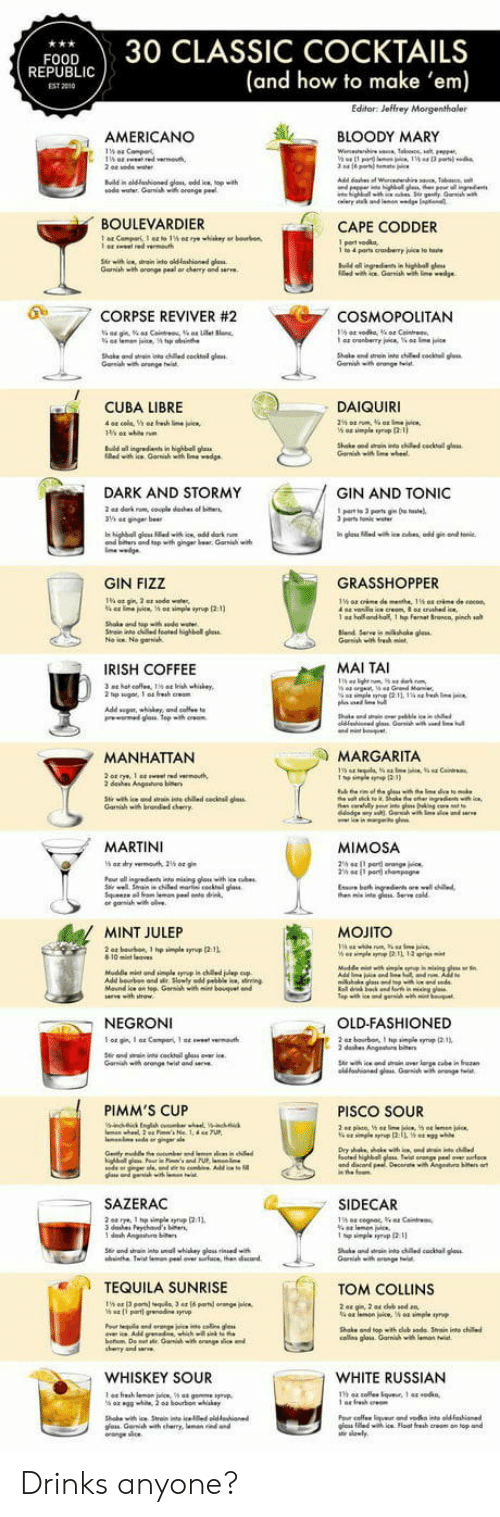 Cocktails: FOOD30 CLASSIC COCKTAILS  (and how to make 'em)  REPUBLI  EST 2010  AMERICANO  し 、 BLOODY MARY  ณ0de water. Garwish wa orange Peet  BOULEVARDIER  CAPE CODDER  Gamiah with oronge peal or chenry and serve  0  .7 CORPSE REVIVER #2  COSMOPOLITAN  Shake ond wtai nto ched cocktal glass  CUBA LIBRE  DAIQUIRI  n highball g  DARK AND STORMY  GIN AND TONIC  parts Tonile  and top with ginger br Gari w  GIN FIZZ  GRASSHOPPER  1 a  ho and-half, 1 hp fernet Sronca, pinch so  IRISH COFFEE  MAI TAI  MANHATTAN  MARGARITA  dehes Angeuo  MARTINI  MIMOSA  he nte g Serve cold  MINT JULEP  MOJITO  NEGRONI  OLD-FASHIONED  Garih wh orange twist and  PIMM'S CUP  PISCO SOUR  SAZERAC  SIDECAR  TEQUILA SUNRISE  TOM COLLINS  Shake and topith dub sode Srain into chile  cos glais Garnihwi  WHISKEY SOUR  WHITE RUSSIAN  าร 44 cole.tque. 1 44 .0 kn,  os iledwih ice Float fresh creom on top and Drinks anyone?